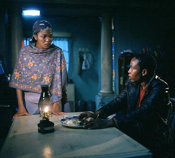 Terry Pheto as Miriam and Presley Chweneyagae as Tsotsi in Miramax's Tsotsi
