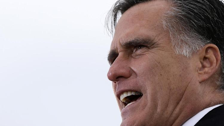 Republican presidential candidate, former Massachusetts Gov. Mitt Romney speaks about the economy at a campaign rally at Kinzler Construction Services in Ames, Iowa, Friday, Oct. 26, 2012. (AP Photo/Charles Dharapak)