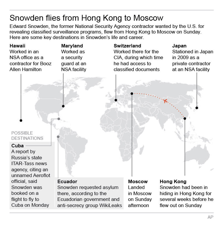 Graphic shows key locations in the life and career of former NSA contractor Edward Snowden; 3c x 5 inches; 146 mm x 127 mm;