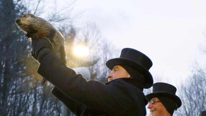 Groundhog Club Co-handler John Griffiths, left, holds the weather predicting groundhog, Punxsutawney Phil,  after he was taken from the stump before the club said Phil did not see his shadow and there will be an early spring on Groundhog Day, Saturday, Feb. 2, 2013, in Punxsutawney, Pa. (AP Photo/Keith Srakocic)