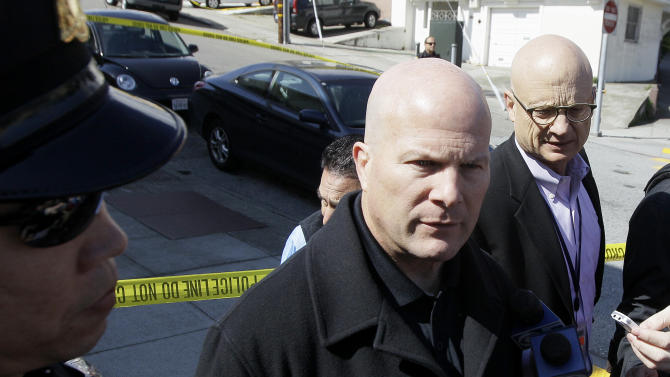 San Francisco Police Chief Greg Suhr speaks to reporters outside of a home on Howth Street in San Francisco, Friday, March 23, 2012. Five members of a family were found dead inside a home near SanFrancisco's City College in an apparent murder-suicide, police said Friday. (AP Photo/Jeff Chiu)