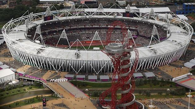 An aerial view shows the Olympic Stadium and the Orbit tower at the London 2012 Olympic Games in east London August 3, 2012 (Reuters)