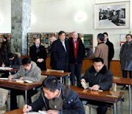 &lt;p&gt;This photo, taken by North Korea&#39;s official Korean Central News Agency on January 9, 2013, shows former New Mexico Governor Bill Richardson (centre, L) and Google executive chairman Eric Schmidt (centre, R) visiting the Grand People&#39;s Study House in Pyongyang. Richardson and Schmidt were in North Korea for a &#39;private trip.&#39;&lt;/p&gt;
