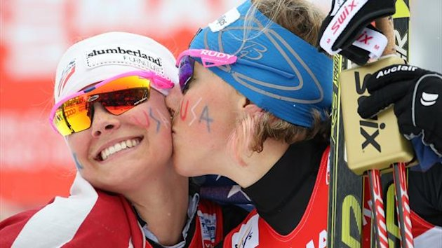 USA's Jessica Diggins (L) and Kikkan Randall congratulate each other after winning the women's cross country skiing team sprint (AFP)