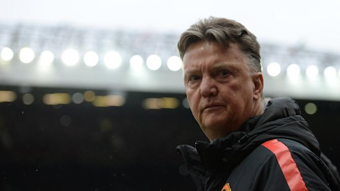 Manchester United's Dutch manager Louis van Gaal prepares for the English Premier League football match between Manchester United and West Bromwich Albion at Old Trafford in Manchester, England on May 2, 2015