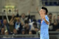 Napoli Marek Hamsik celebrates scoring during the final of the Cup of Italy Juventus vs Napoli at the Olympic Stadium in Rome. Juventus' record-breaking 43-match undefeated run came to an end on Sunday when Napoli won the Italian Cup 2-0