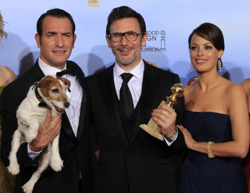 Dujardin, Hazanavicius and Bejo of &quot;The Artist&quot; pose backstage at the 69th annual Golden Globe Awards in Beverly Hills