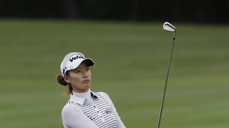 Chella Choi, of South Korea, watches her approach shot to the first hold during third round play in the Mobile Bay LPGA Classic golf tournament at the Robert Trent Jones Golf Trail at Magnolia Grove in Mobile, Ala. Saturday, May 18, 2013. (AP Photo/Dave Martin)