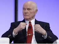 FILE - In this Feb. 20, 2012 file photo, former Ohio Sen. John Glenn speaks in Columbus, Ohio. President Barack Obama and first lady Michelle Obama will honor a diverse cross-section of political and cultural icons — including former Secretary of State Madeleine Albright, astronaut John Glenn, basketball coach Pat Summitt and rock legend Bob Dylan — with the Medal of Freedom at a White House ceremony Tuesday. The Medal of Freedom is the nation's highest civilian honor. It's presented to individuals who have made especially meritorious contributions to the national interests of the United States, to world peace or to other significant endeavors. (AP Photo/Jay LaPrete, File)
