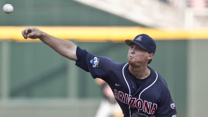 Arizona starting pitcher James Farris delivers against South Carolina in the first inning of Game 2 of the NCAA College World Series best-of-three baseball finals, in Omaha, Neb., Monday, June 25, 2012. (AP Photo/Nati Harnik)