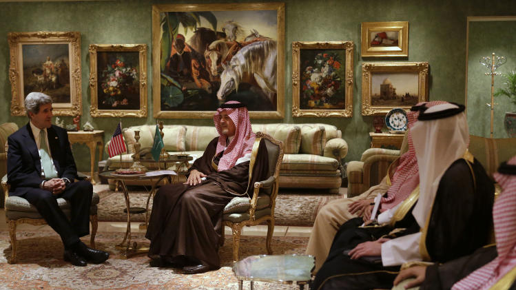 U.S. Secretary of State John Kerry, left, meets with Saudi Foreign Minister Prince Saud al-Faisal in his palace in Riyadh, Saudi Arabia on Sunday, March 3, 2013. Saudi Arabia is the seventh leg of Kerry's first official overseas trip. (AP Photo/Jacquelyn Martin, Pool)
