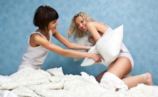 Girls' nights involve sexy pillow fights