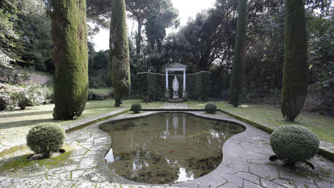 FILE- In this  Wednesday, Feb. 20, 2013, file photo, a view of the garden of pope's summer residence of Castel Gandolfo, in the town of Castelgandolfo, south of Rome.. Immediately after his resignation on Feb. 28, 2013, Pope Benedict XVI will spend some time at the papal summer retreat in Castel Gandolfo, overlooking Lake Albano in the hills south of Rome where he has spent his summer vacations reading and writing. (AP Photo/Gregorio Borgia)