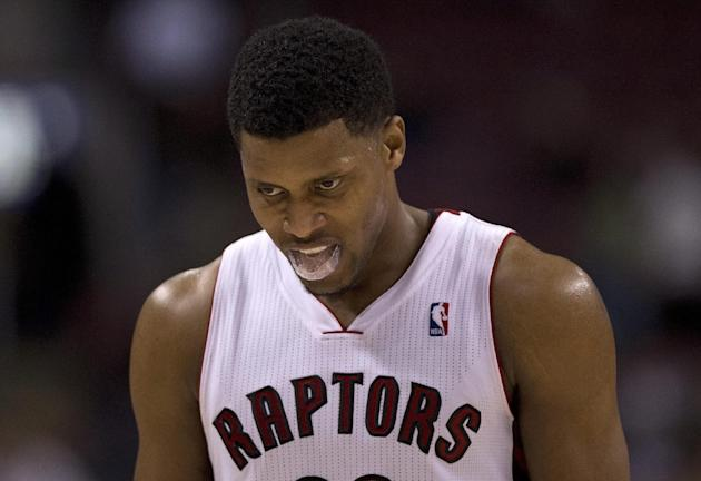 Toronto Raptors forward Rudy Gay walks off the court after losing to the Miami Heat in an NBA basketball game, Tuesday, Nov. 5, 2013 in Toronto