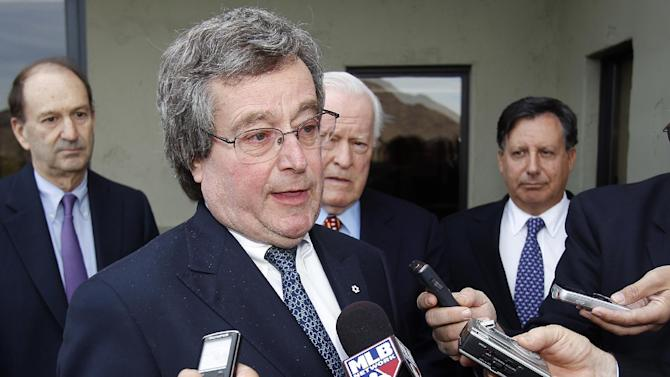 Toronto Blue Jays CEO Paul Beeston addresses members of the media concerning Commissioner Bud Selig's contract extension following a meeting with team owners, Thursday, Jan. 12, 2012, in Paradise Valley, Ariz. (AP Photo/Paul Connors)