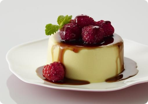 Eggnog Panna Cotta with Balsamic Raspberries