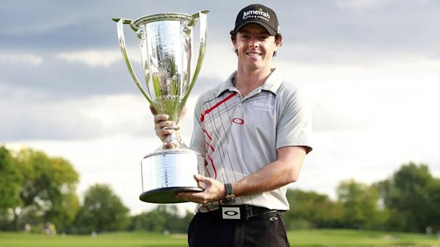 Rory McIlroy of Northern Ireland poses with the champion&#39;s trophy after winning the PGA Championship golf tournament in Carmel, Indiana (Reuters)