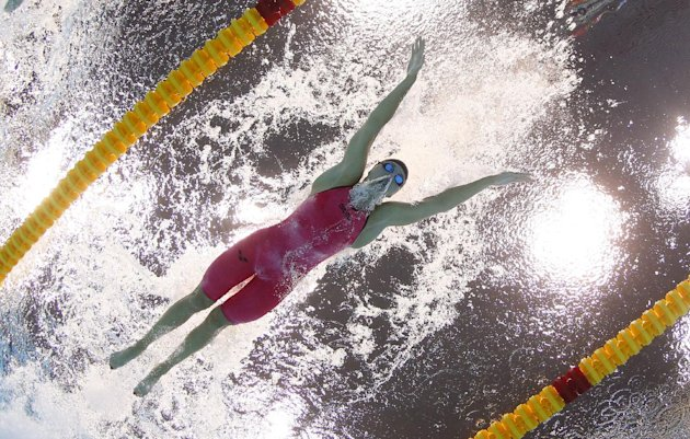 Hungary&#39;s Katinka Hosszu swims in a women&#39;s 400-meter individual medley heat at the Aquatics Centre in the Olympic Park during the 2012 Summer Olympics in London, Saturday, July 28, 2012. (AP Photo/David J. Phillip)