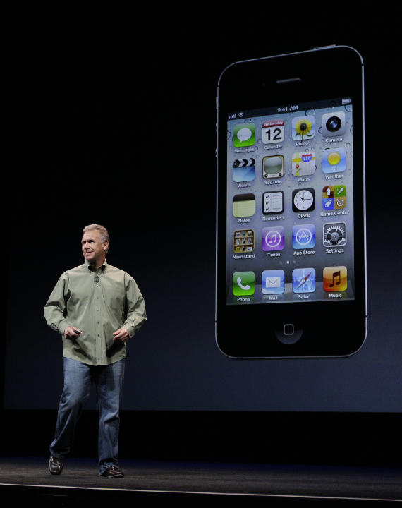 Phil Schiller, Apple's senior vice president of worldwide marketing, speaks on stage during an introduction of the new iPhone 5 at an Apple event in San Francisco, Wednesday Sept. 12, 2012. (AP Photo/