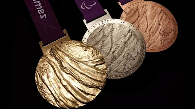 The London 2012 Paralympic Games medals designed by British artist Lin Cheung (AFP)