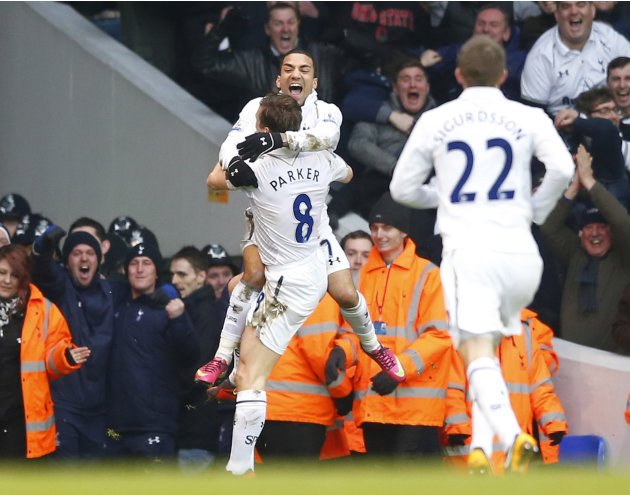 Tottenham Hotspur's Lennon celebrates after scoring a goal against Arsenal during their English Premier League soccer match at White Hart Lane in London