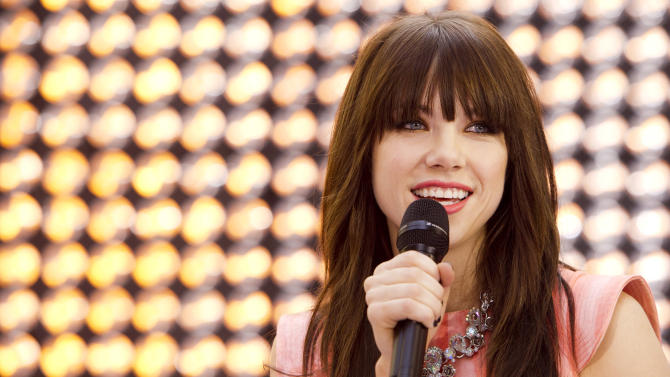 "FILE - This Aug. 23, 2012 file photo shows singer Carly Rae Jepsen performs on NBC's ""Today"" show in New York. Billboard says the 16-year-old Canadian's infectious pop song about infatuation love topped its ""Songs of Summer"" chart. The list annually ranks the overall performance of hits songs on the Billboard Hot 100 between Memorial Day and Labor Day. (Photo by Charles Sykes/Invision/AP, file)"
