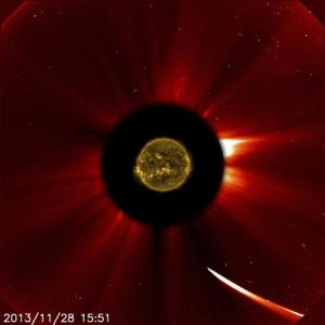 Comet ISON moves quite close to the sun in this image from ESA/NASA's Solar and Heliospheric Observatory