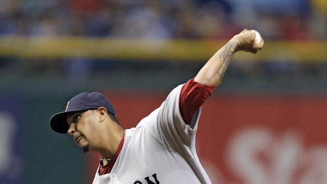 Boston Red Sox starting pitcher Felix Doubront delivers to a Tampa Bay Rays batter during the first inning of a baseball game Thursday, May 16, 2013, in St. Petersburg, Fla. (AP Photo/Chris O'Meara)