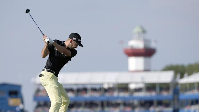 Troy Merritt hits off the 18th tee during the third round of the RBC Heritage golf tournament in Hilton Head Island, S.C., Saturday, April 18, 2015. (AP Photo/Stephen B. Morton)