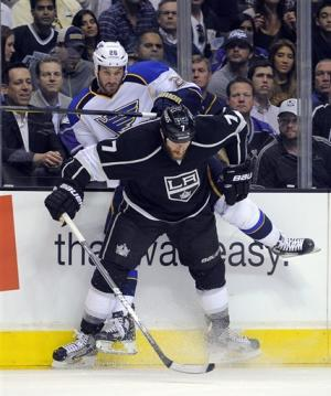 LA Kings beat Blues 4-2, on brink of series sweep