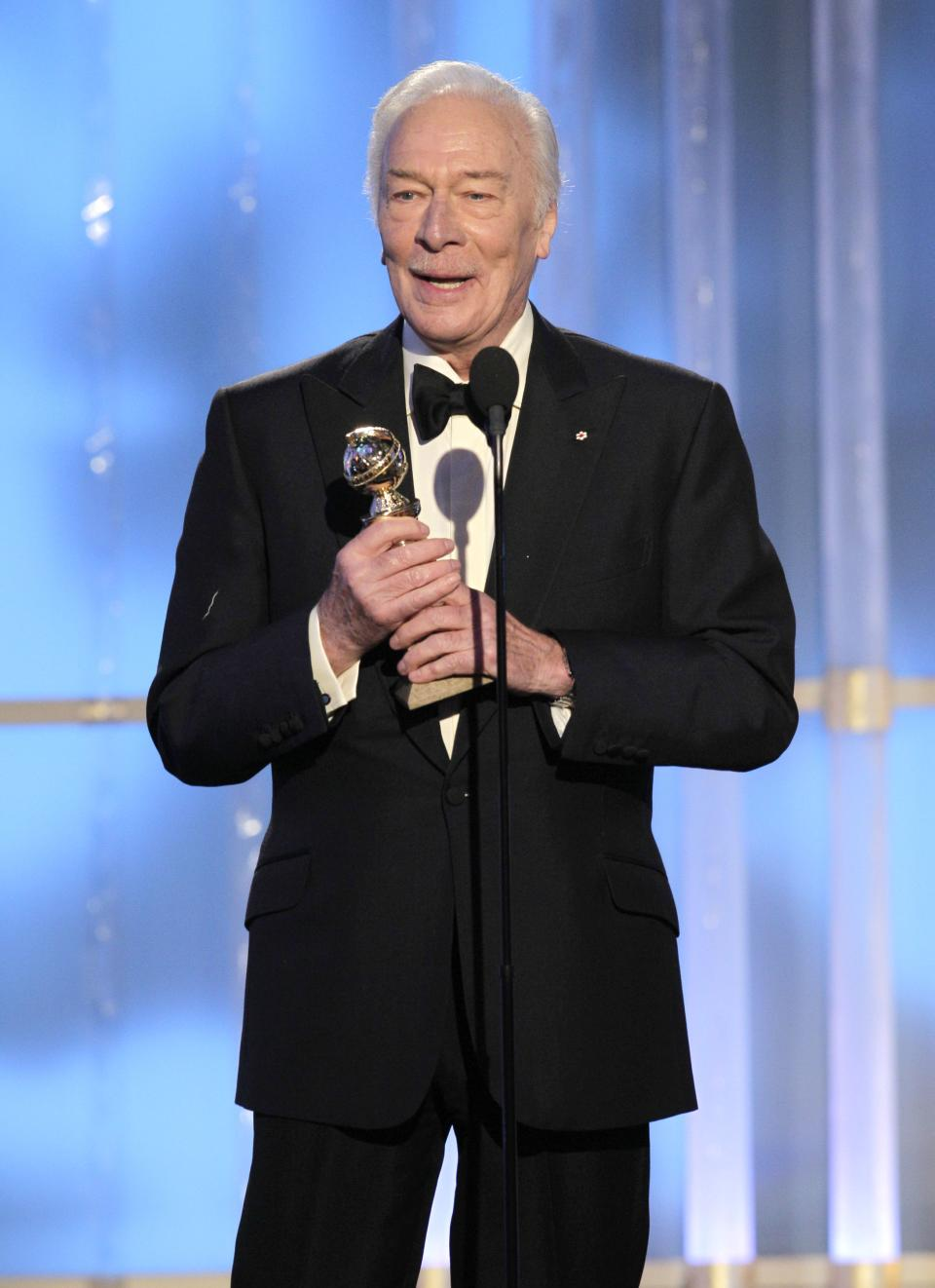"In this image released by NBC, Christopher Plummer accepts award for Best Supporting Actor for a  Motion Picture for his role in ""Beginners"" during the 69th Annual Golden Globe Awards, Sunday, Jan. 15, 2012 in Los Angeles. (AP Photo/NBC, Paul Drinkwater)"