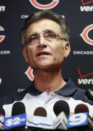 FILE - In this July 31, 2011 file photo, Chicago Bears general manager Jerry Angelo speaks at a news conference after NFL football training camp in Bourbonnais, Ill. On Tuesday, Jan. 3, 2012, the Bears announced Angelo has been fired following a team collapse marked by injuries to Jay Cutler and Matt Forte and a drug scandal involving receiver Sam Hurd. The announcement ends Angelo's 11-year reign in which the Bears reached one Super Bowl and advanced to another NFC championship game. (AP Photo/Nam Y. Huh, File)