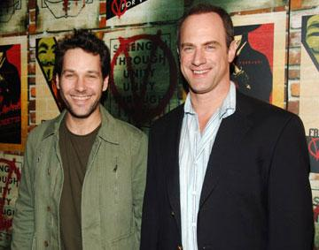 Paul Rudd and Christopher Meloni at the New York premiere of Warner Bros. Pictures' V for Vendetta