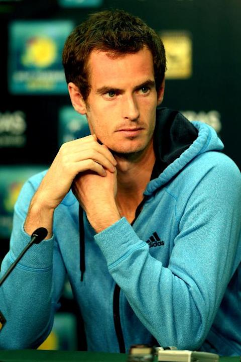 Andy Murray of Great Britain answers questions during a press conference at the BNP Parabas Open in Indian Wells, California, on March 6, 2014
