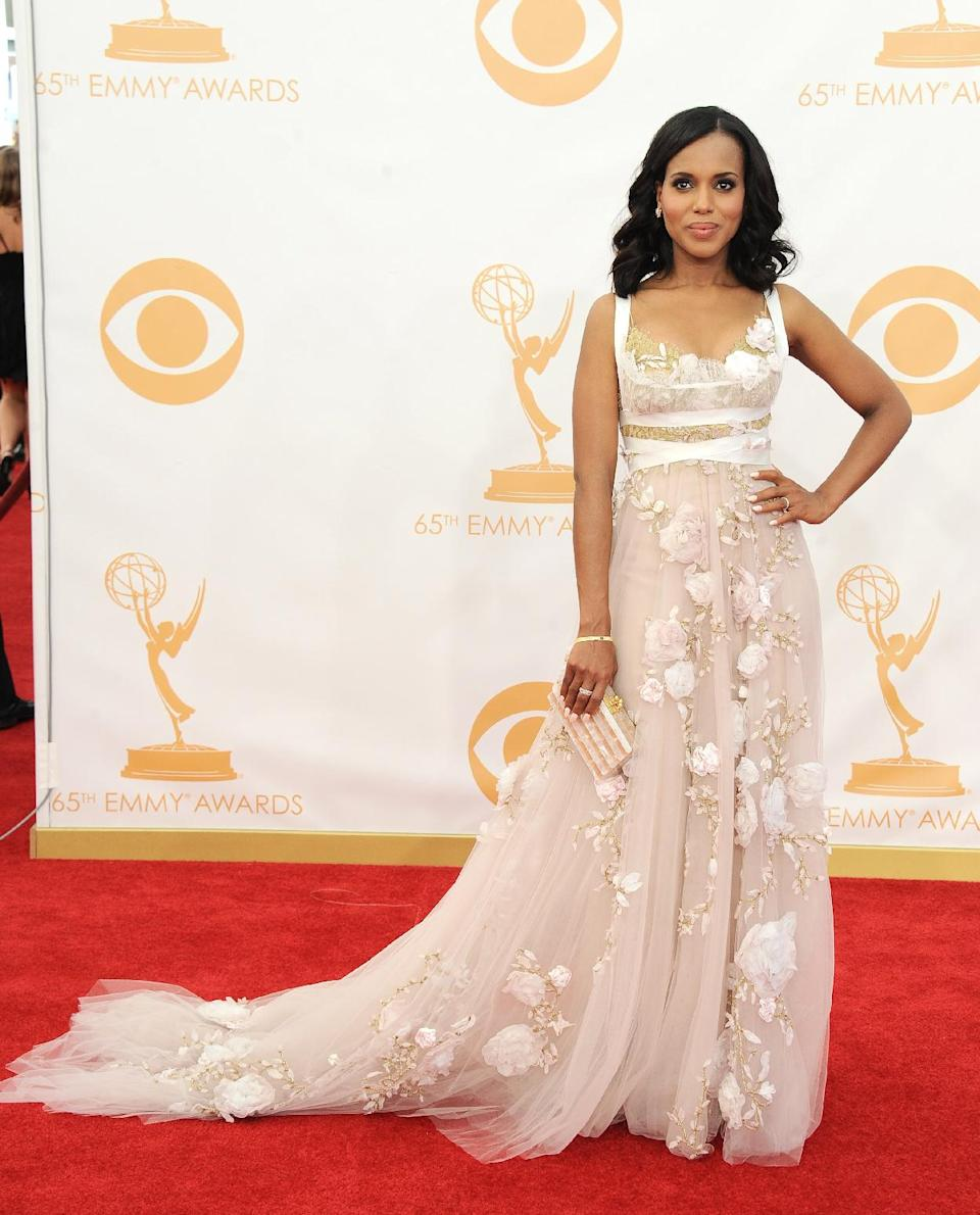 Kerry Washington, wearing Marchesa, arrives at the 65th Primetime Emmy Awards at Nokia Theatre on Sunday Sept. 22, 2013, in Los Angeles. (Photo by Jordan Strauss/Invision/AP)