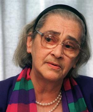 FILE - This 1994 file photo shows Yelena Bonner, the widow of physicist and Nobel Peace Prize winner Andrei Sakharov, in Moscow. Radio Liberty in Boston cited Pavel Litvinov, another longtime rights activist, as saying the 88-year-old Bonner died Friday June 17, 2011 at her home in Boston. The report on Sunday morning did not give a cause of death. (AP Photo/Sergei Karpukhin, File)