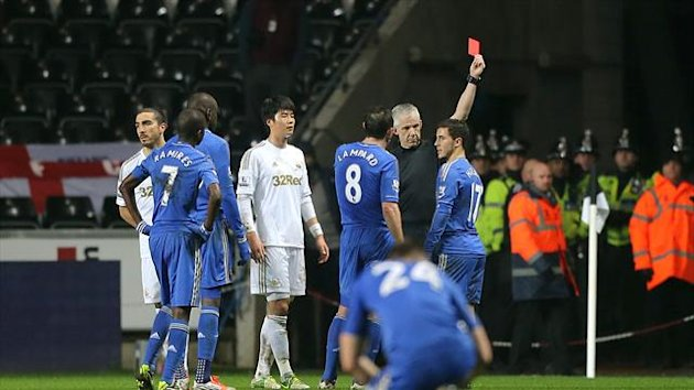 Chris Foy has been praised for sending off Eden Hazard