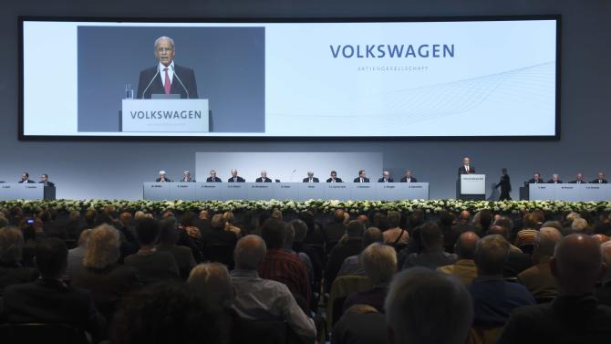 Interim chairman Huber, former boss of the IG Metall labour union, addresses the Volkswagen annual shareholder meeting in Hanover