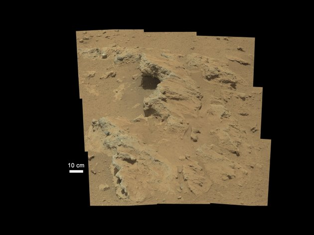 "Evidence of an ancient, flowing stream on Mars is seen in this NASA handout image mosaic taken with the Curosity rover's 100-millimeter Mastcam telephoto lens September 14, 2012 and released September 27, 2012. The rock outcrop, which the science team has named ""Hottah"" after Hottah Lake in Canada's Northwest Territories, is exposed bedrock made up of smaller fragments cemented together, or what geologists call a sedimentary conglomerate.  Hottah has pieces of gravel embedded in it, called clasts, up to a couple inches (few centimeters) in size and located within a matrix of sand-sized material. Some of the clasts are round in shape, leading the science team to conclude they were transported by a vigorous flow of water.  REUTERS/NASA/JPL-Caltech/Handout (SCIENCE TECHNOLOGY) THIS IMAGE HAS BEEN SUPPLIED BY A THIRD PARTY. IT IS DISTRIBUTED, EXACTLY AS RECEIVED BY REUTERS, AS A SERVICE TO CLIENTS. FOR EDITORIAL USE ONLY. NOT FOR SALE FOR MARKETING OR ADVERTISING CAMPAIGNS"
