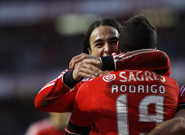 Benfica's Machado celebrate his goal against Maritimo with teammate Markovic during their Portuguese Premier League match in Lisbon