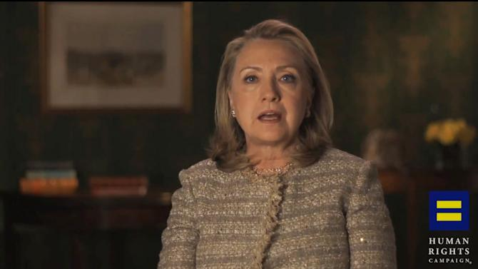 This video framegrab, provided by the Human Rights Campaign shows former Secretary of State Hillary Rodham Clinton announcing her support for gay marriage. Knowing someone who is gay or just getting older and thinking about the issue are two big reasons the country is viewing same-sex marriage more favorably, according to a national survey. The Pew Research Center poll helps explain why Americans seem to be changing their minds on the issue and follows the recent public embrace of gay marriage by Clinton and Republican Sen. Rob Portman. (AP Photo/Human Rights Campaign)