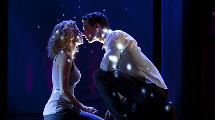 "In this theater image released by The Hartman Group, Caissie Levy, left, and Richard Fleeshman are shown in a scene from ""Ghost The Musical,"" at the at the Lunt-Fontanne Theatre in New York. (AP Photo/The Hartman Group, Joan Marcus)"