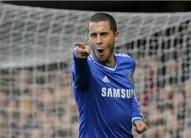 Chelsea's Hazard celebrates scoring his first goal against Newcastle United during their English Premier League soccer match in London