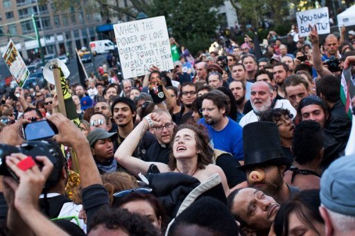 &lt;p&gt;Occupy Wall Street protestors dance and sing during a concert given by Tom Morello, former lead singer of the band &quot;Rage Against the Machine,&quot; in Foley Square on September 16, 2012 in New York City. New Yorkers braced for more street protests Monday as Occupy Wall Street marks its first anniversary by attempting to blockade the New York Stock Exchange and re-energize the movement.&lt;/p&gt;
