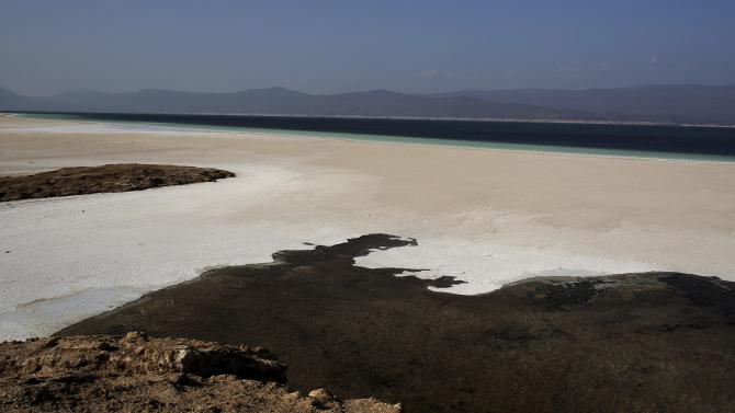 Vew of the shore of Lake Assal is pictured in central-western Djibouti