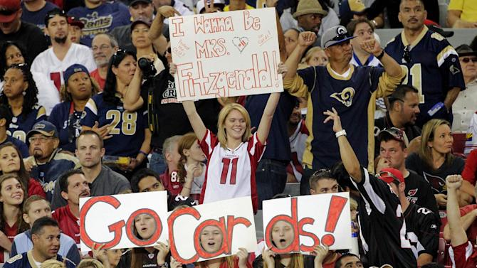 Arizona Cardinals fans cheer during the second half of an NFL football game against the St. Louis Rams, Sunday, Nov. 25, 2012, in Glendale, Ariz. (AP Photo/Matt York)