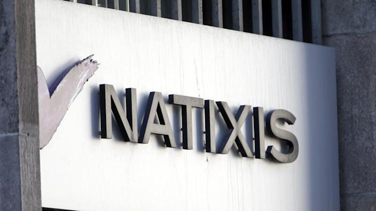 The logo of French bank Natixis is seen outside one of their offices in Paris