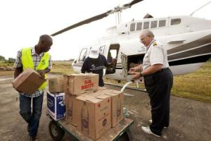Samaritan's Purse team members help with the delivery of supplies in Liberia in this undated handout photo