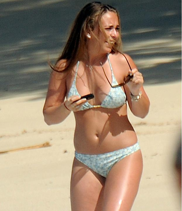 Celebrities in bikinis: Floral was the print of choice for Chloe Green who nailed beach dressing this Christmas.