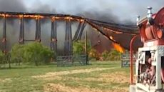 Burning bridge collapses